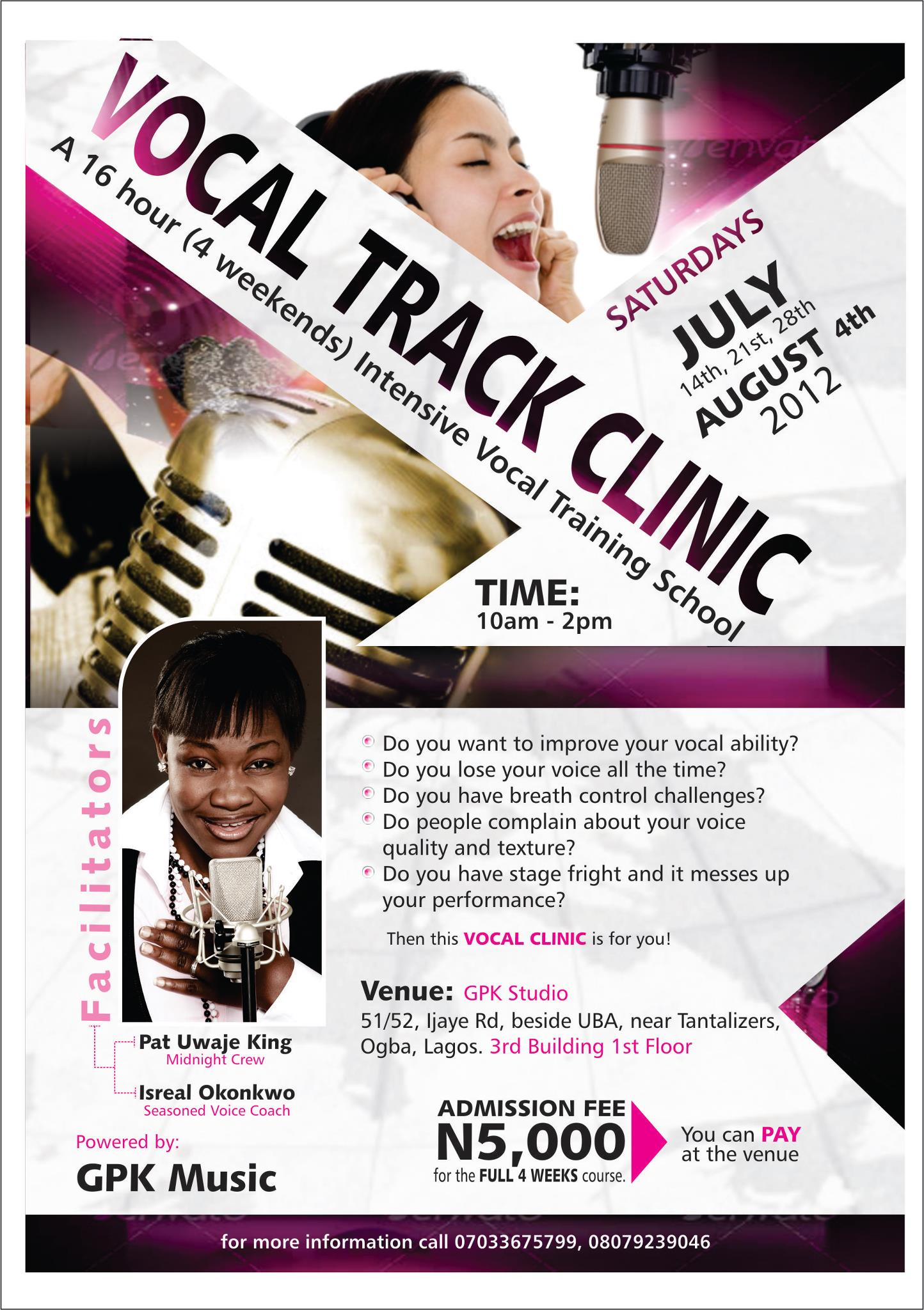 Vocal Track Clinic (A 4 weeks voice training school-With Patricia ...