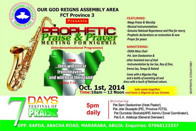 rccg FCT October 1st 2014