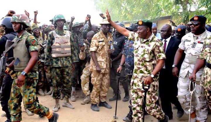 Pres. Goodluck Jonathan visits troops in Baga, Mubi  (1)