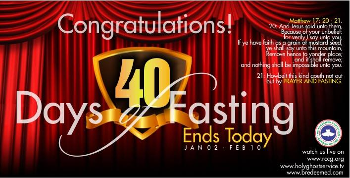 RCCG ends of 40 days fasting 2015