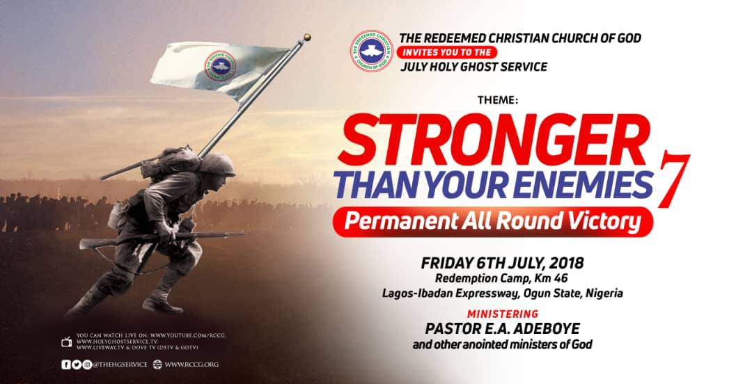 Rccg July 2018 Holy Ghost Service