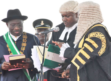 President Goodluck Jonathan taking oath of office, 29th May 2011