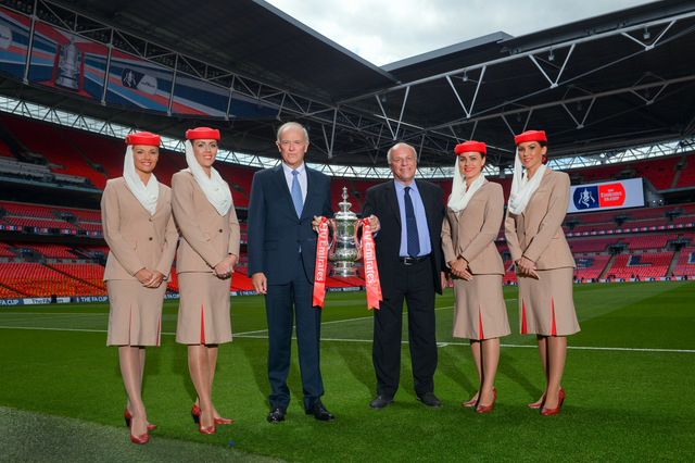 LONDON, ENGLAND - MAY 30:  Greg Dyke, Chairman, The FA and Sir Tim Clark, President Emirates Airline lift The FA Cup following the announcement that Emirates will be lead partner and title sponsor for the next three years prior to the FA Cup Final between Aston Villa and Arsenal at Wembley Stadium on May 30, 2015 in London, England.  (Photo by Michael Regan - The FA/The FA via Getty Images) *** Local Caption *** Greg Dyke;Sir Tim Clark