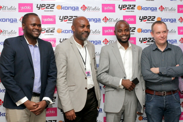LR: Stomo Ekwegh, Business Development Manager Technology Distribution Mobile; Stanley Uzoechina, Vice President-Retail Yudala; Adeola Awesola, Country Manager YEZZ Mobile Nigeria and Mark Russel Chief Operations Officer Konga Nigeria; during the Media Launch of YEZZ Mobile Phones in Lagos on 1st July ,2015.
