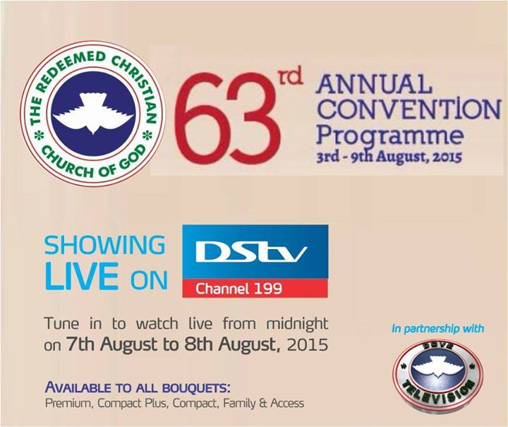 The RCCG Convention will be showing LIVE on DSTV (Channel 199) from 7th Aug to 8th Aug! ?#?TheAllSufficientGod?