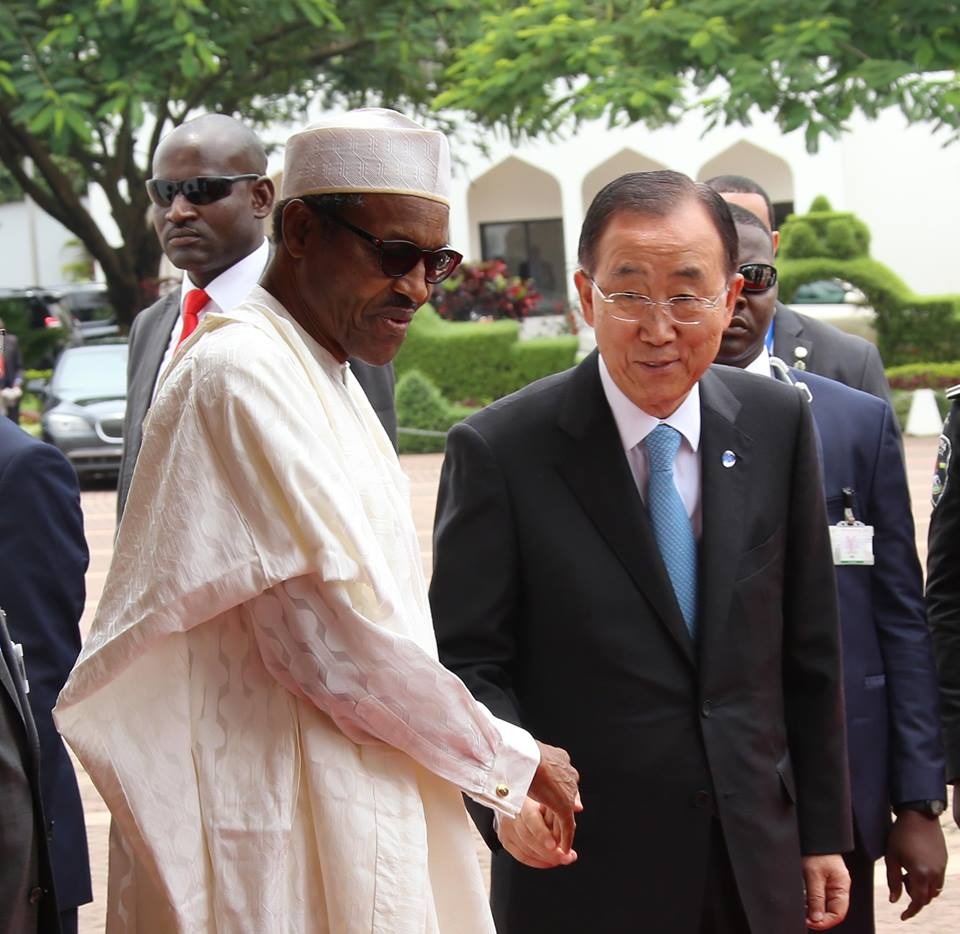 President Muhammadu Buhari welcomes the United Nation's Secretary General Mr Ban Ki Moon at the State House yesterday (24th August 2015) in Abuja
