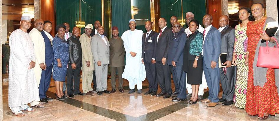 President Muhammadu Buhari Vice President Prof Yemi Osinbajo SAN flanked by Permanent Secretary Ministry of Power, Ambassador Godknows Igal Chairman NERC, Dr, Sam Amadi and others after a briefing session by the Ministry of Power on it's activities at the State House Abuja.