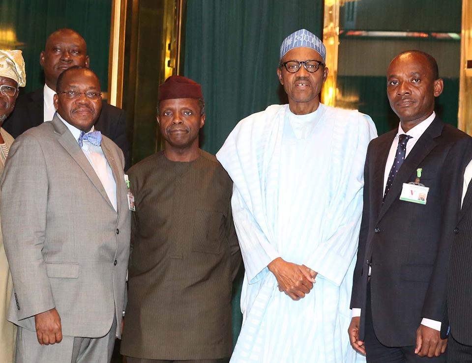 L-R; Permanent Secretary Ministry of Power, Ambassador Godknows Igali, Vice President Prof Yemi Osinbajo SAN, President Muhammadu Buhari, and Chairman NERC, Dr, Sam Amadi after a briefing session by the Ministry of Power on it's activities at the State House Abuja.