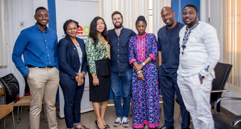 L-R Operations Manager Mobolade Ekujumi, Amy, CEO of iDea Hub Helen Anatogu , Guillaume,Adaora, Obi, Olufunbi