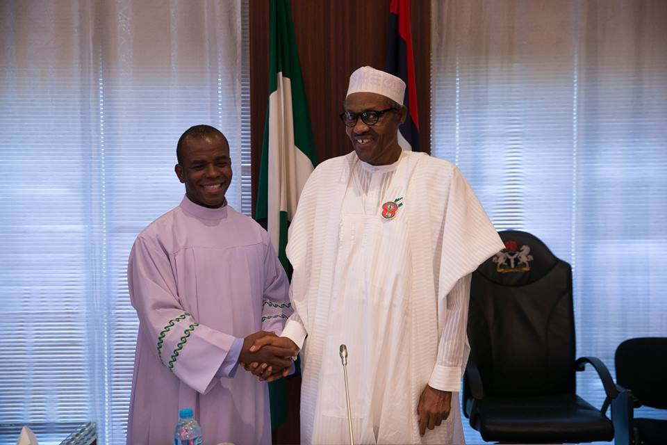 President Buhari receives Rev. Fr. Mbaka in Statehouse 18th December 2015 (1)