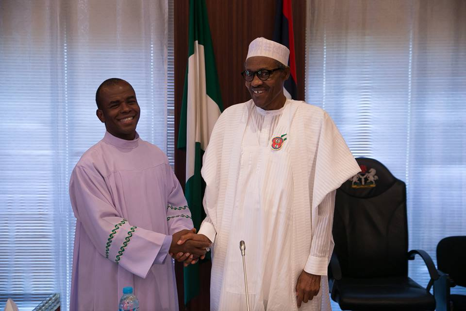 President Buhari receives Rev. Fr. Mbaka in Statehouse 18th December 2015 (2)