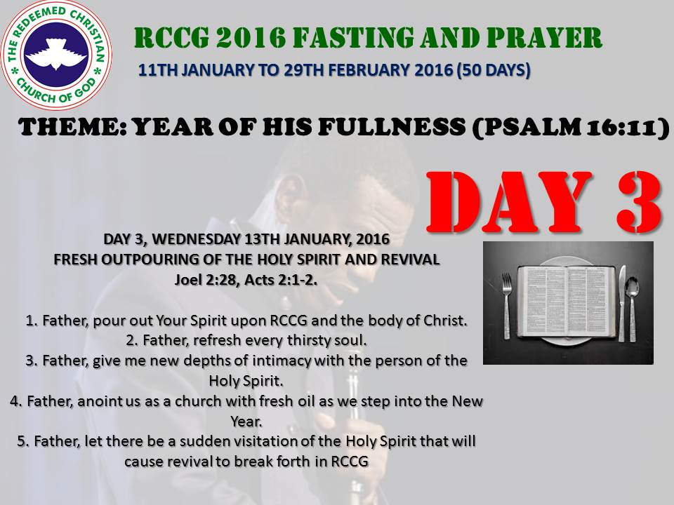RCCG fasting 2016 DAY 3