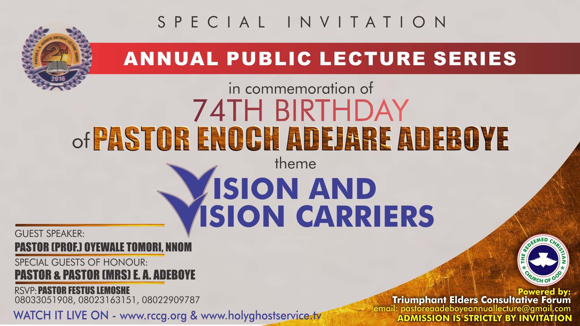 2nd Pastor Adeboyes Public Lecture 2016