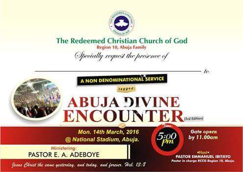 RCCG Abuja Divine Encounter March 2016
