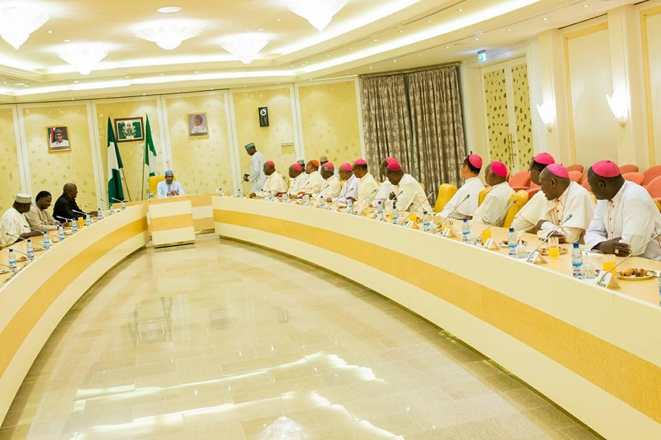 Catholic Bishops Conference of Nigeria visits Buhari 2nd May 2016 (1)