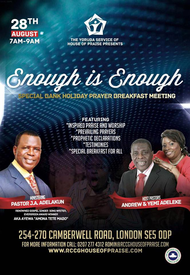 The Yoruba Service of RCCG House of Praise presents Enough