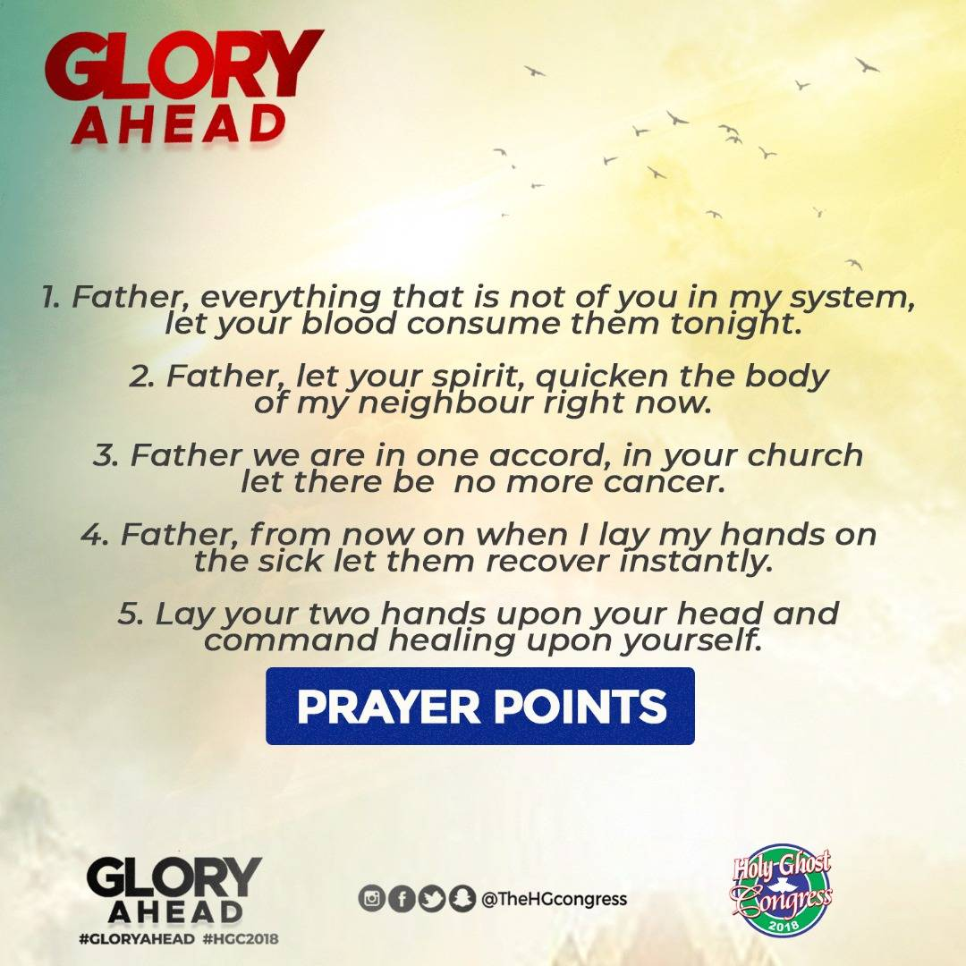 Prayer points from RCCG Holy Ghost Congress 2018 (Day 2
