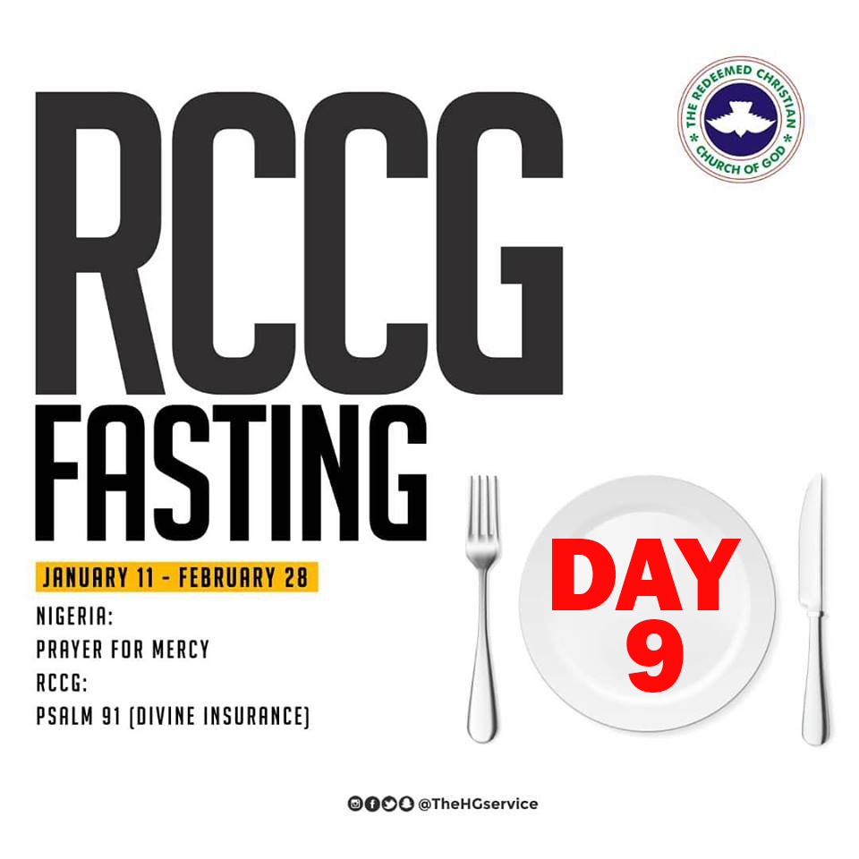 Day 9: RCCG 2019 Fasting Prayer Points – Saturday 19th Jan